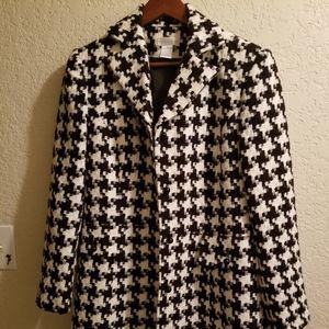 Women  black and white tweed coat